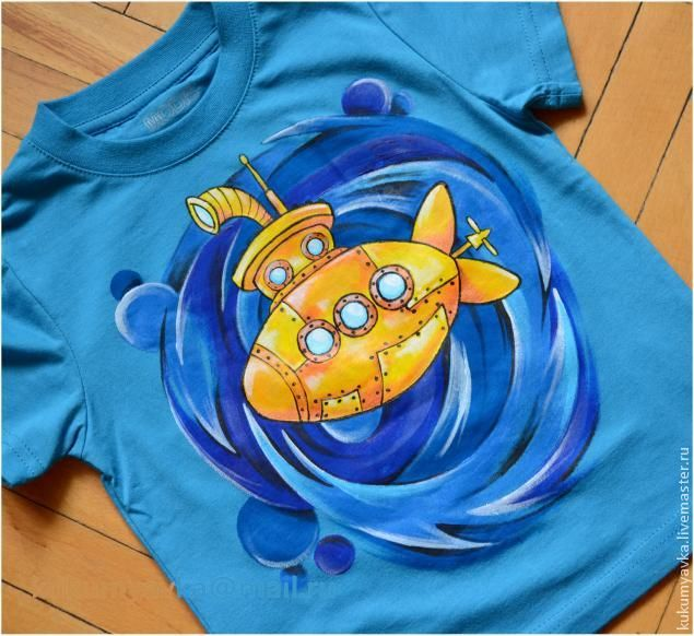 """Роспись футболки """"Желтая субмарина"""" - Ярмарка Мастеров - ручная работа, handmade"""