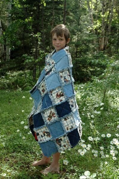 ragged denium plus quilt - Jared with mittens