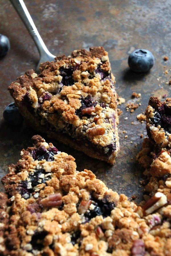 Blauwe bessen crumble taart