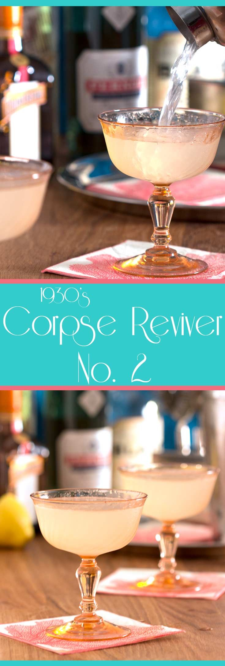 Corpse Reviver No. 2 - A vintage cocktail that is delightfully refreshing, slightly sweet yet tart, with lovely notes of citrus. #zestyrecipe #vintagerecipe