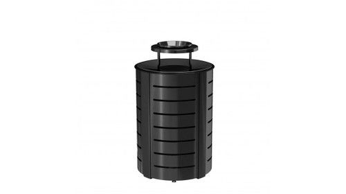 35 Gallon Ash and Trash Metal Trash Bin MTCRND3502 - outdoor & indoor trash cans, recycle bins, & ashtrays for commercial, office or home.