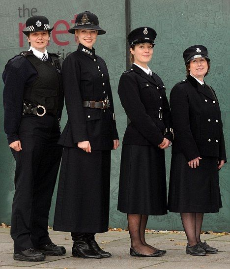 Through the ages: British women police officers' uniform (l-r) in 2009, 1919-1931, 1946-1968 and 1968-1972