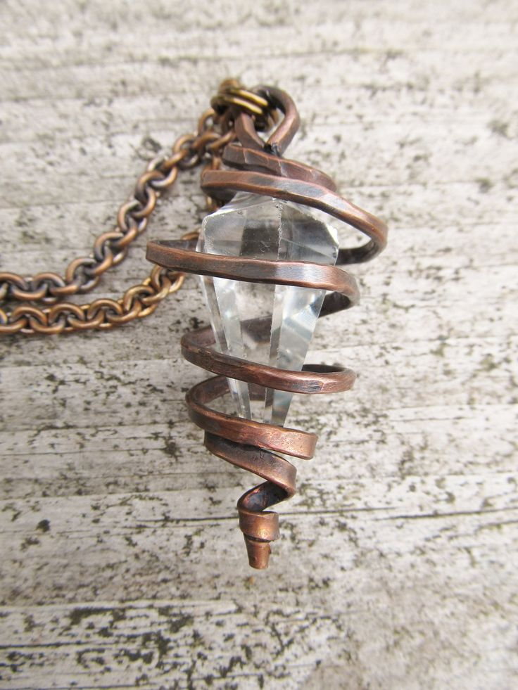 Wire Wrap  Necklace Rugged Crystal Rustic Jewelry Oxidized Copper Necklace Urban Gypsy Metalwork Statement Necklace