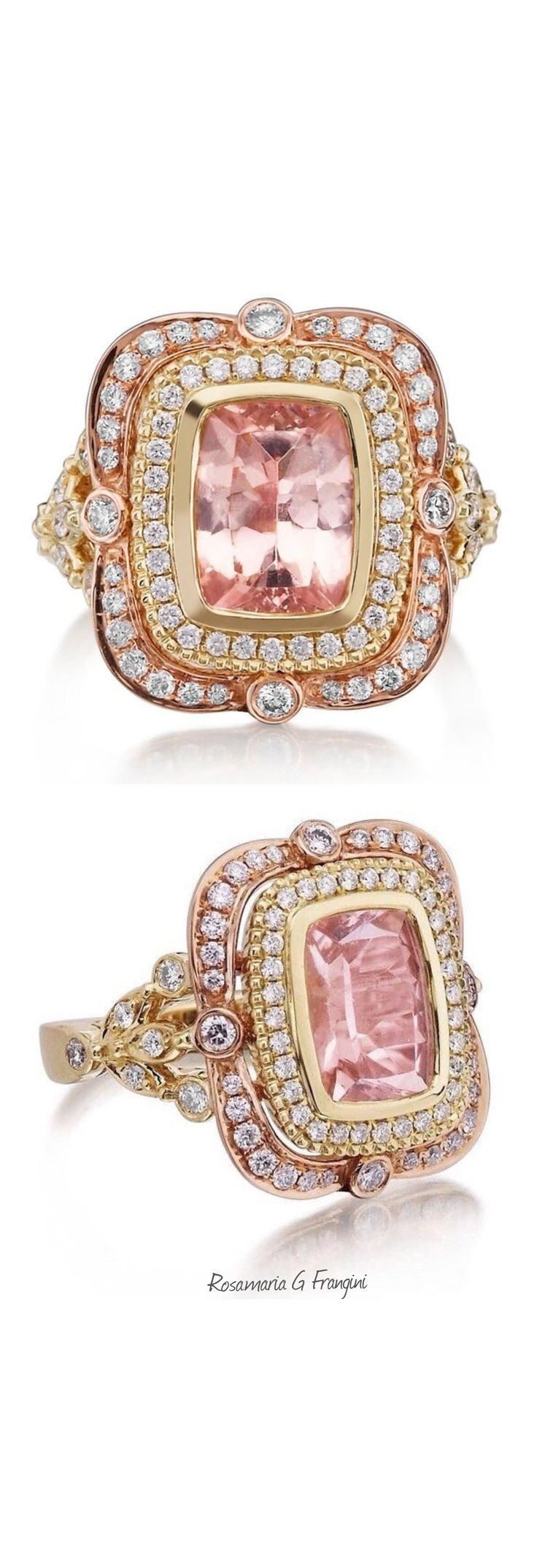 Rosamaria G Frangini | High Pink Jewellery | MM&Co | Morganite Ring 18kt Pink & Yellow Gold Long Cushion Cut Pink 8x10mm MORGANITE ENGAGEMENT Double Halo Victorian Diamond Ring by PristineCustomRings