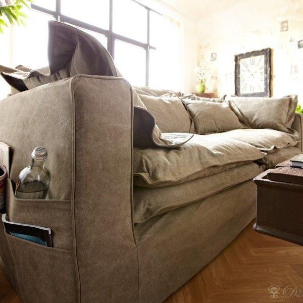 Braun Couch Hussensofa mit Kissen_4