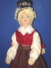 "8.5"" Charlotte Weibull ""Havero Uppland"" Ethnic Cloth Doll in Plastic Tube Sweden"