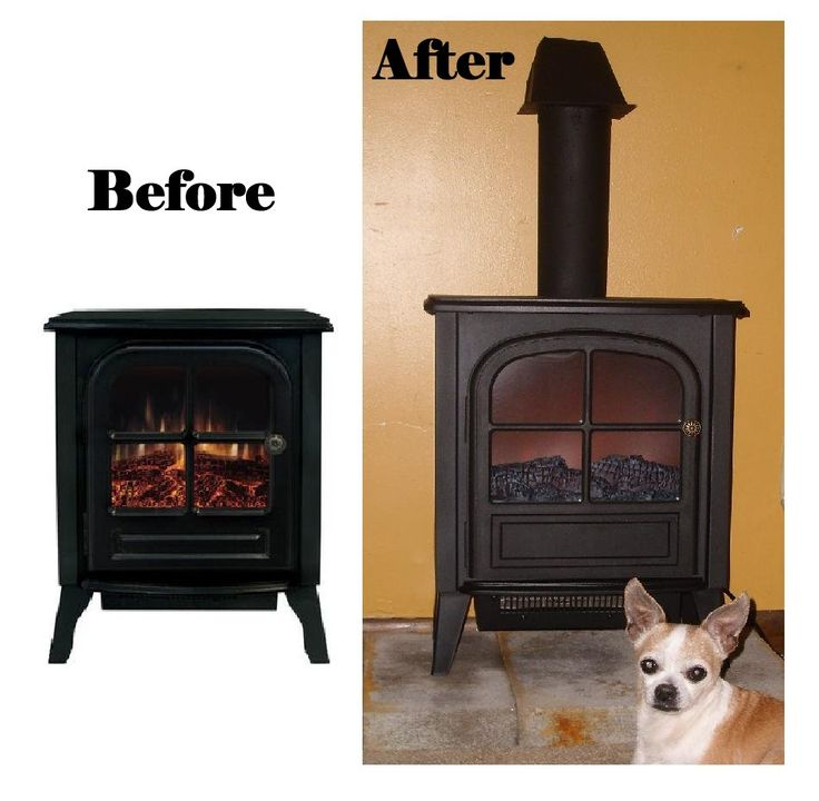 "This is what can be done when the inherent mind works always dreamed of a ""fireplace"" but never could but heat went out & someone gave us the before stove we transformed it to the after pic piping dryer pipe & vent for a dryer painted black to match stove I love it didn't even have to have pinterest for the idea I ♥ the blessings God gives his children Westmount Portable Electric Fireplace from Wal mart God works in mysterious ways well"