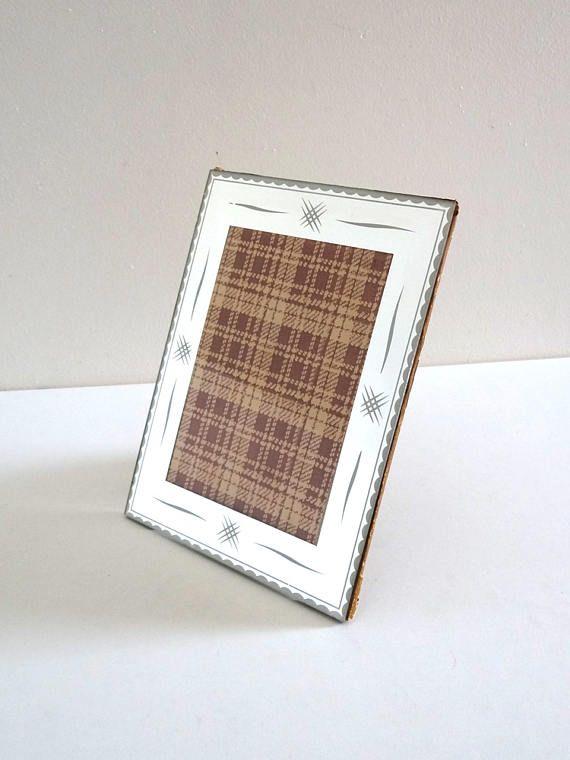 Vintage 50s Mirror Photo Frame  Mid Century Beveled Mirror