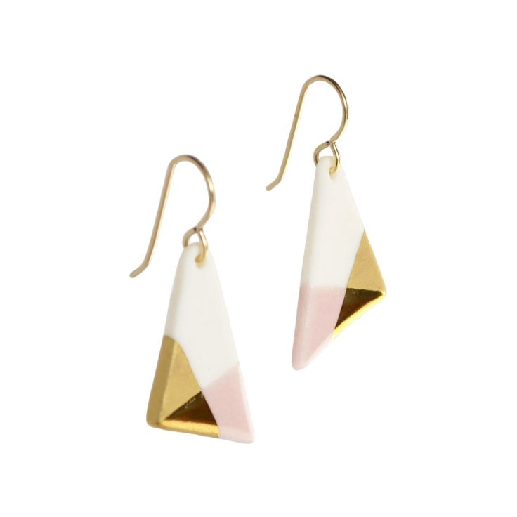 Triangle Shaped Dangle Earrings in Blush Pink and Gold These earrings began as bits of wet porcelain clay. They were meticulously shaped, glazed and gilded, being fired three times throughout the cour                                                                                                                                                                                 More