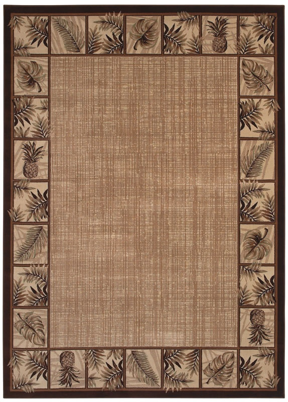 Kathy Ireland Ohana Paradise Hawaii Ranch Beige Palm Tree and Pinapple Rug  - Kathy Ireland by Shaw | Rugs