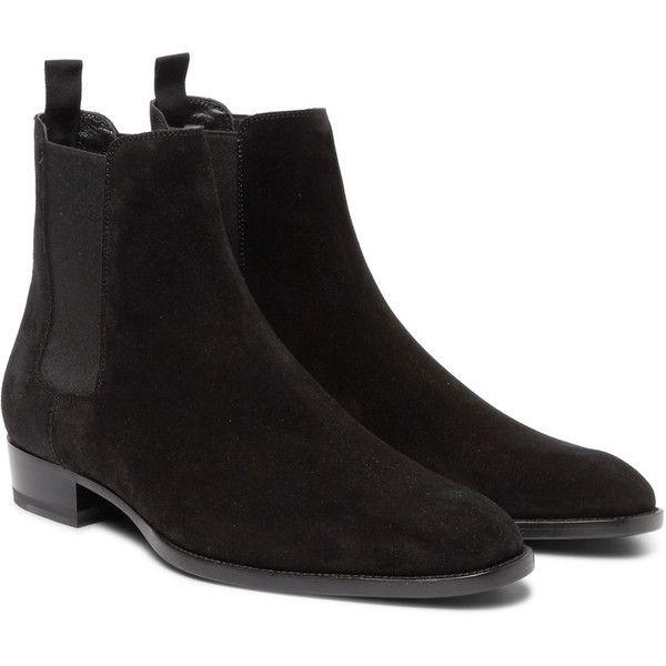 Saint Laurent Suede Chelsea Boots ($795) ❤ liked on Polyvore featuring men's fashion, men's shoes, men's boots, mens pointy boots, mens black pull on boots, mens black slip on shoes, mens suede shoes and mens slipon shoes