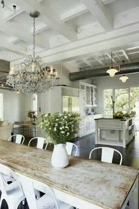 a more traditional, rustic country look - love the contrast with the chandelier