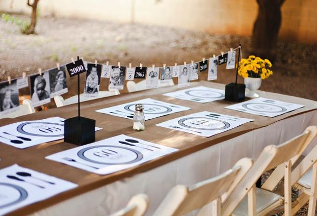 so much love for this kraft, black + white party with pops of yellow:  photo clothesline centerpiece (photos from each year of the birthday guest's life) is so clever, yet easy to create + custom placemats are a fun touch