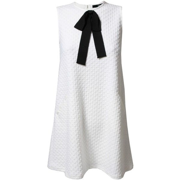 TFNC Milia White Bow Dress ($44) ❤ liked on Polyvore featuring dresses, bow dress, tfnc, white dress, tfnc dresses and white day dress