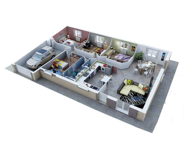 Bekannt Les 25 meilleures idées de la catégorie Plan maison 90m2 sur  EL54