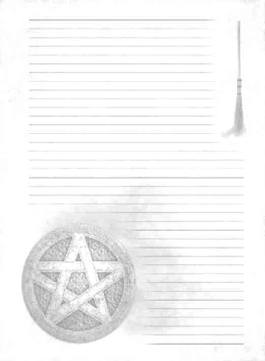 Lined page with besom and pentacle