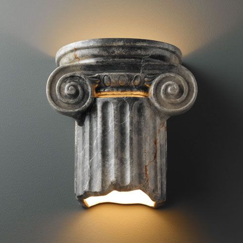 ambiance slate marble ionic column twolight bathroom wall sconce