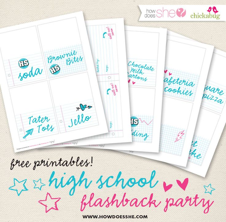 High School Flashback Party - This is a super fun post. Pin it for a fun random adult party in the future. :) | How Does She...