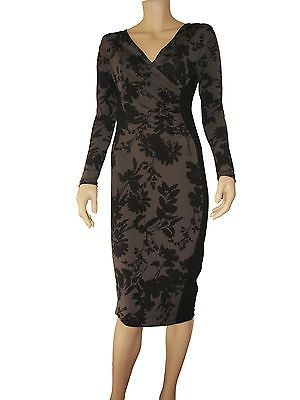 Panelled Dress w/ v-neck, bodycon style, midi length,lined, long sleeve, size12 $67