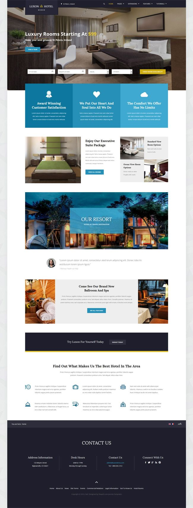 Shape5 joomla template luxon is the ultimate hotel and for Joomla hotel template