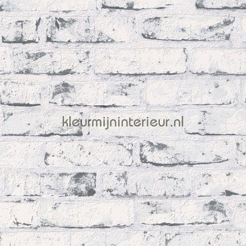 Baksteen wit-grijs 9078-37 | behang New England 2 van AS Creation | kleurmijninterieur.nl