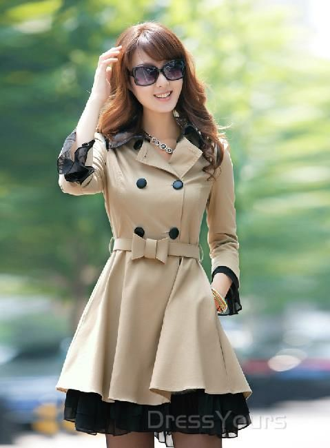 $ 83.79 Gorgeous Slim Double-breasted OL Style Long Trench Coat