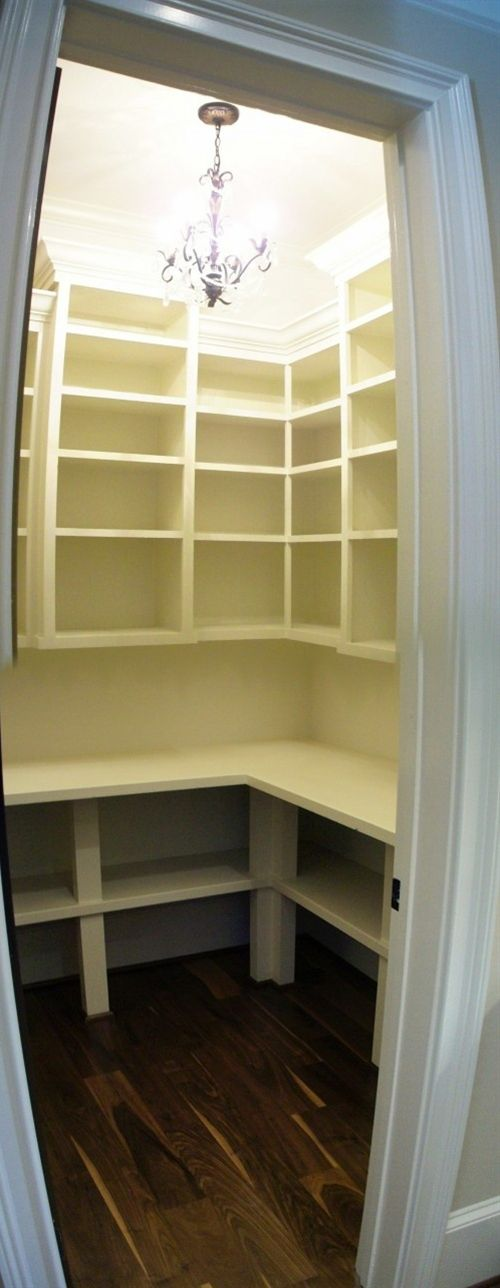 pantry shelves, leave space for appliances (Kitchen Aid mixer, Cuisinart, etc)