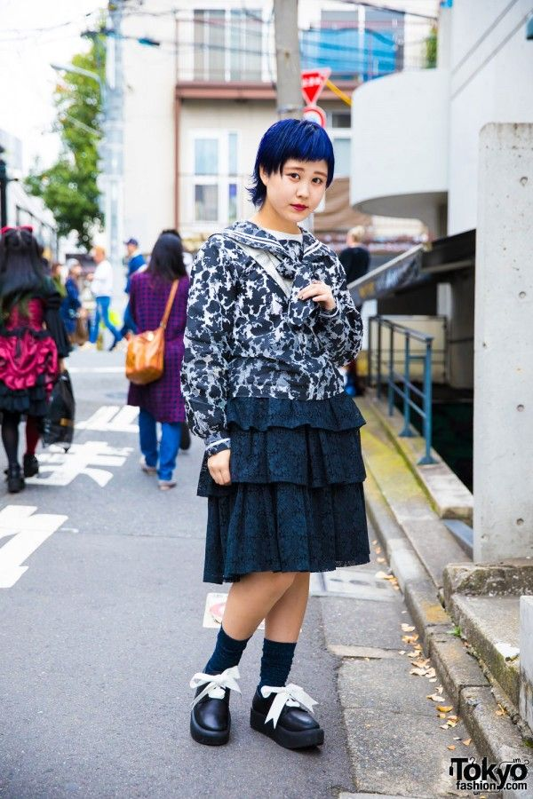 Mikio Sakabe x Pink House Sailor Collar Blouse and Tokyo Bopper Ruffled Skirt