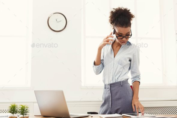 Business Woman With Mobile Phone Standing At Office With Images