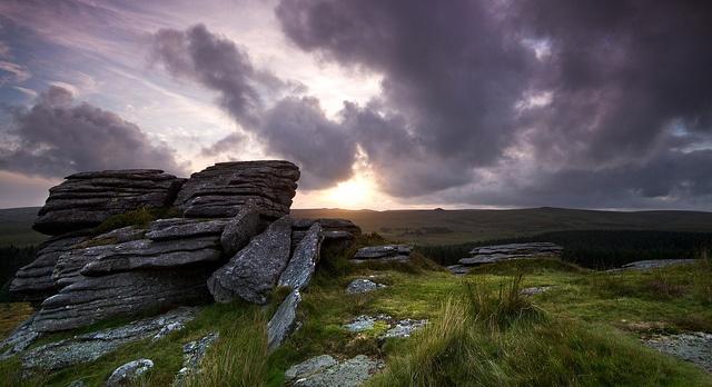 Dartmoor  -  rain clouds over Bellever Tor