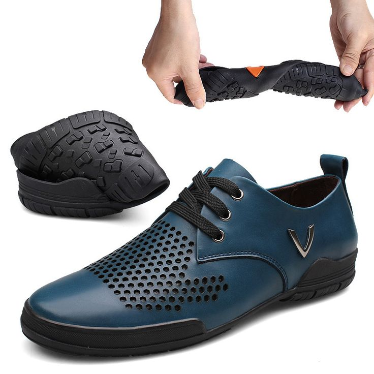 Size 37 to 48 Genuine Leather Men Summer Shoes Breathable Zapatillas Hombre Soft Fake Designer Shoes V Yellowish Brown Blue