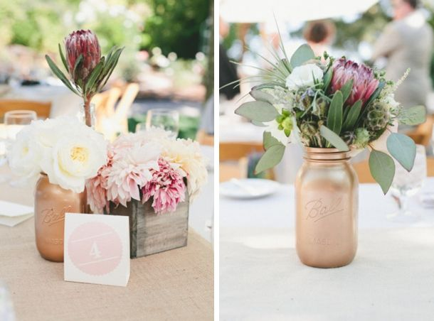 Source: onelove photography/Elsa Vera/Floral Theory via Style Me Pretty | Protea Centrepieces #wedding #flowers #protea
