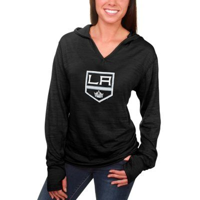 Women's Los Angeles Kings Black Hooded Tri-Blend Long Sleeve T-Shirt