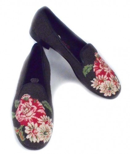 Flowers on Chocolate Needlepoint Loafers
