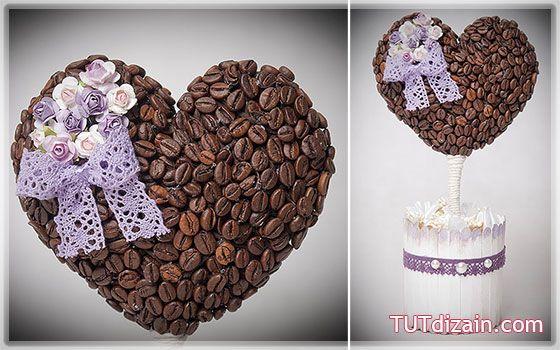 Кофейное сердце-дерево. Основа из ватных дисков » Планета рукоделия