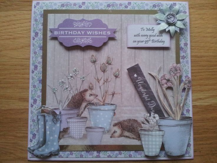 Made by Roisin Doyle - 95th Birthday card using The Potting Shed 2 from Craftwork Cards. Love the colour palette in this collection!