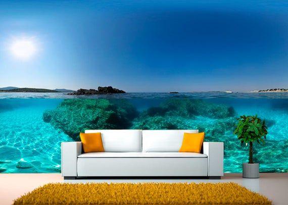 Blue Tropical Water Wall Mural Water Ocean Self Adhesive Large Etsy Wall Murals Bedroom Water Walls Tropical Wallpaper