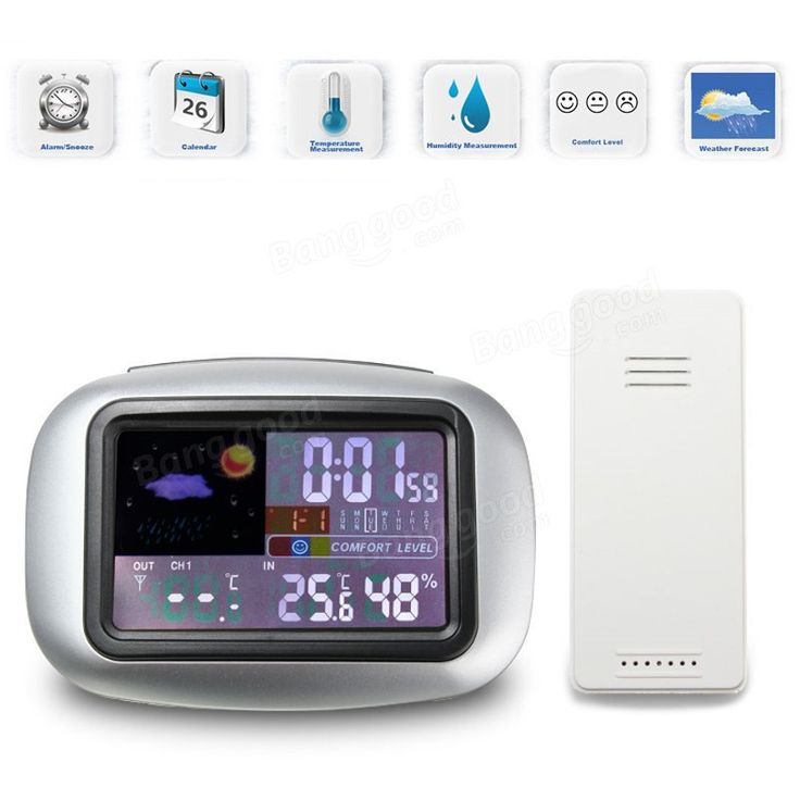 TS-77 Indoor Outdoor Digital Wireless Weather Station Thermometer Hygrometer with Time and Perpetual Calendar Display
