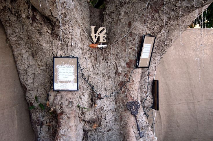 Picture frames hung in tree with favourite love quotes. Dressed with hessian & lace. Fairy lights dropped in trees.