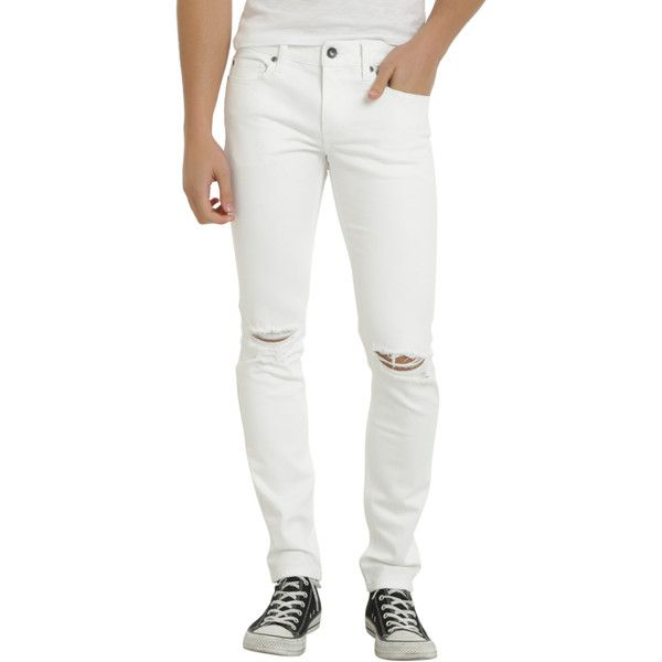 Hot Topic XXX RUDE White Destructed Skinny Jeans ($31) ❤ liked on Polyvore featuring men's fashion, men's clothing, men's jeans, mens white skinny jeans, mens distressed jeans, mens low rise skinny jeans, mens distressed denim jeans and mens button fly jeans
