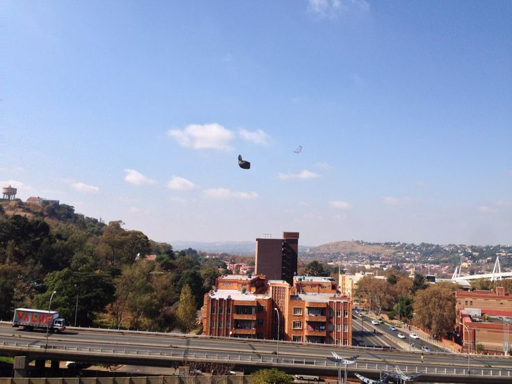 Plastic bag flowing in the wind at Ponte