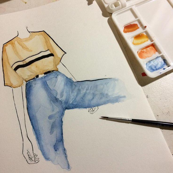 Zeichnen Zeichnen Der Versuch, Aquarell zu verwend…