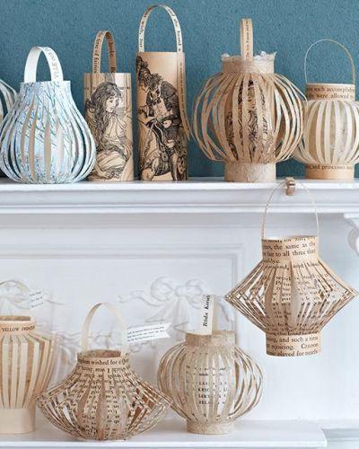 Diy Paper Lanterns from an old damaged book