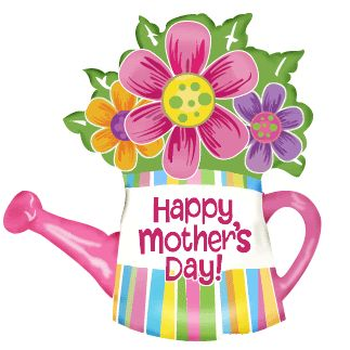 "animated happy mothers day | Cartoon flowers in a watering can with text ""happy mother&s day"""