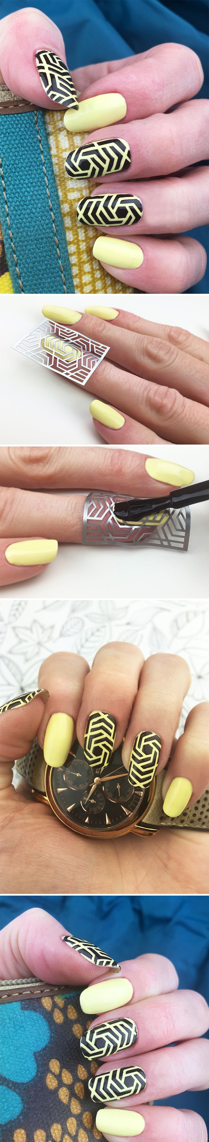 "Nail Stencils design ""Hexagon"" #nailart"