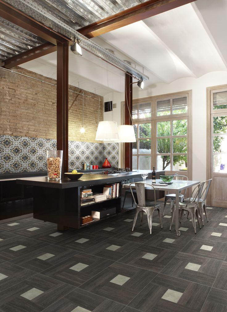 Tile on photo: FIORANESE_Inside 60_Dark-Oliva 60x60 + Cementine 20 POSA_2. For more info please log on to our website www.arabuild.ae