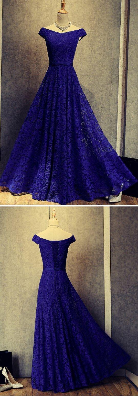 Beautiful Blue Prom Dresses, Elegant A-Line Floor Length Lace Long Evening Dresses, Formal Evening Gown #bluelacepromdresses #prom #dresses #longpromdress #promdress #eveningdress #promdresses #partydresses #2018promdresses #Prettylady