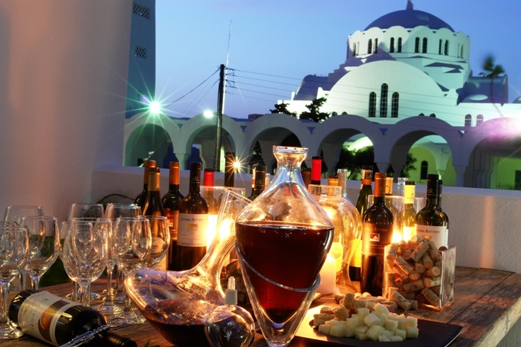Complimented by wines from Santorini's finest VINEYARDS