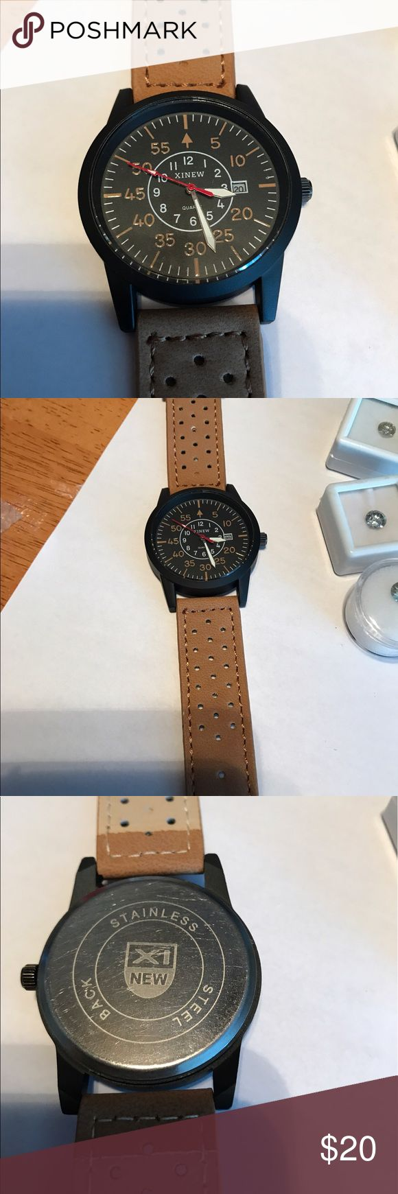Men's watch Really nice men's watch black face and tan band Accessories Watches