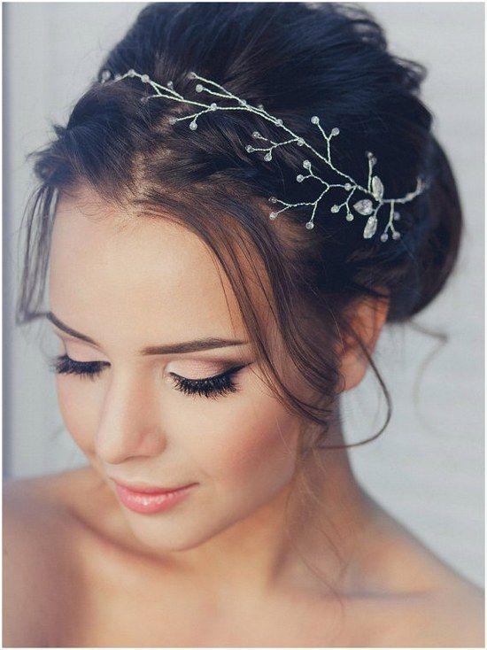 Crystal Decorated Wedding Bridal HeadBand Head Band Bridal Halo Tiara Diadem Bridal Hair Vine / http://www.deerpearlflowers.com/wedding-hairstyle-with-bridal-headpieces/